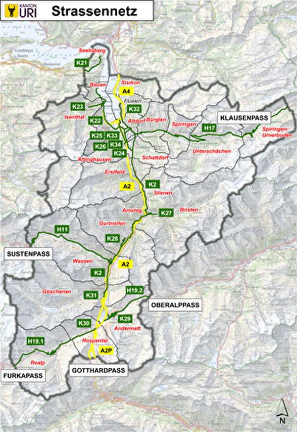 Strassennetz Kanton Uri