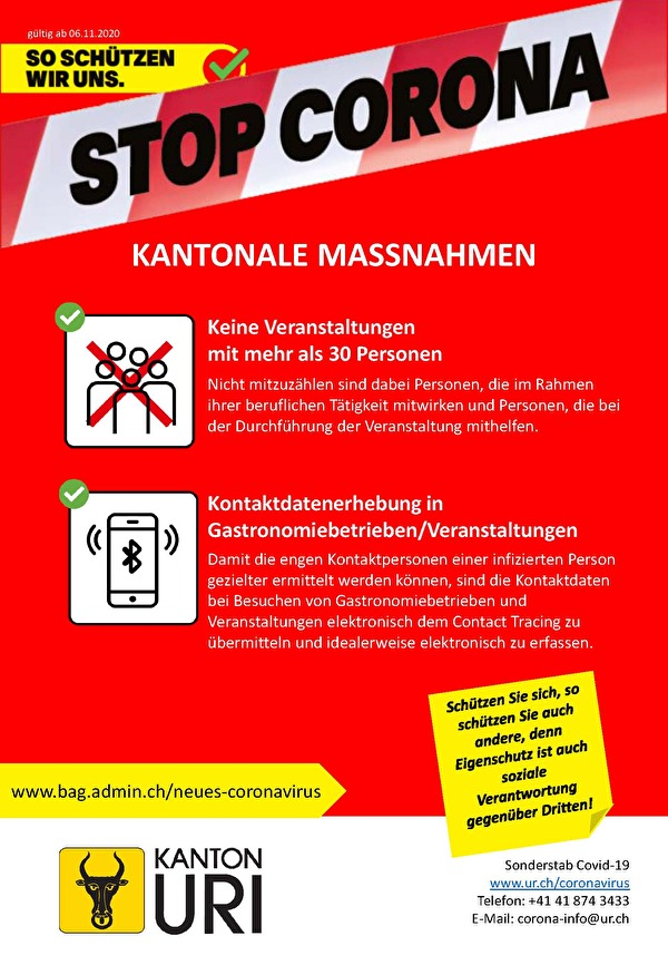 Stop Corona, Kantonale Massnahmen