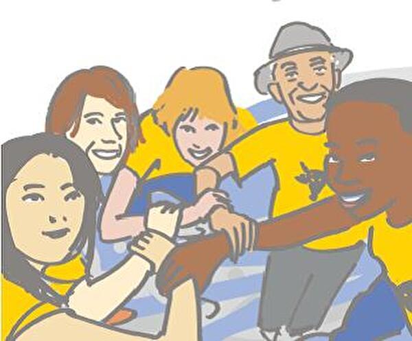 Titelbild des Leitbildes zeigt verschiedene Menschen