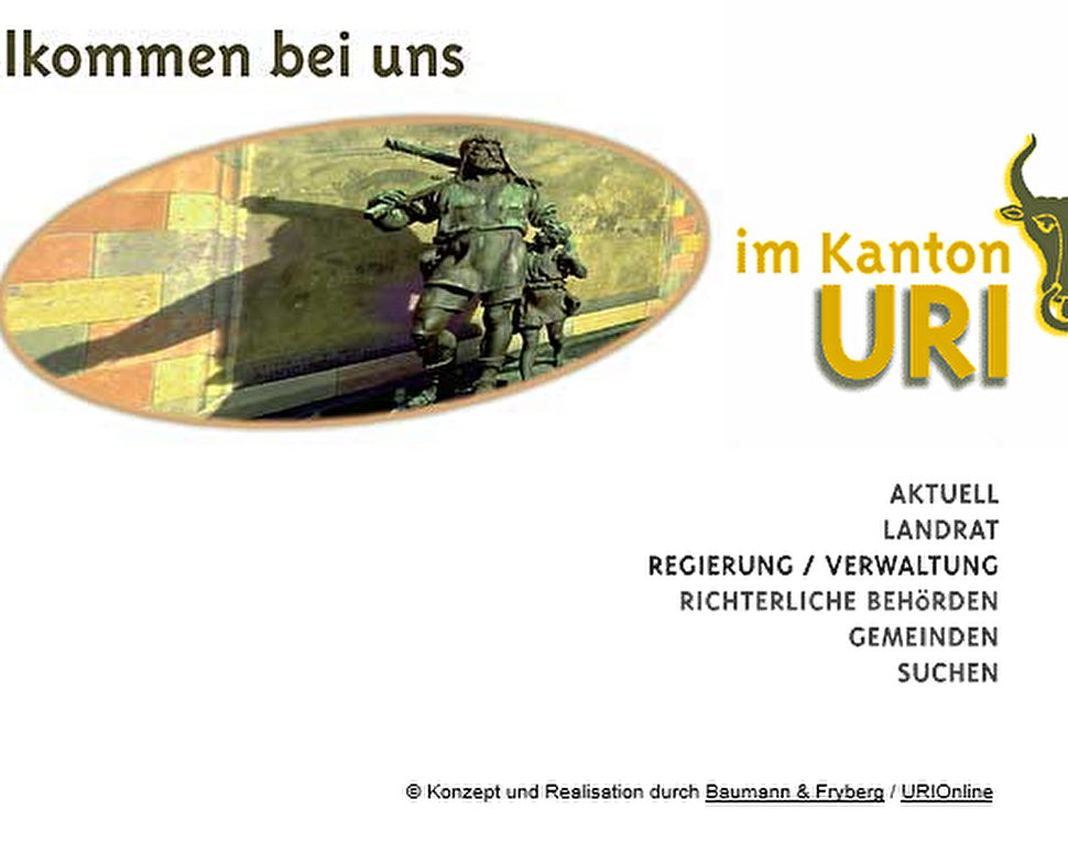 So sah www.ur.ch in den Anfangszeiten aus (Screenshot 28. Februar 2000)