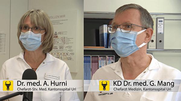 KD Dr. med. Georg Mang und Dr. med. Astrid Hurni vom Kantonsspital Uri betonen: «Im Kan-tonsspital Uri hat es genug Platz. Durch unsere Schutzkonzepte sind Patientinnen und Patienten, aber auch unsere Angestellten im Spital, bestmöglich vor Ansteckungen geschützt». (Screenshot: Focuspictures)