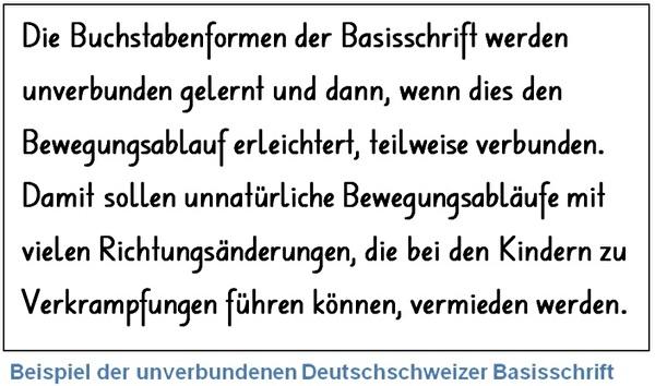 Das Bild zeigt ein Beispiel der unverbundenen Deutschschweizer Basisschrift