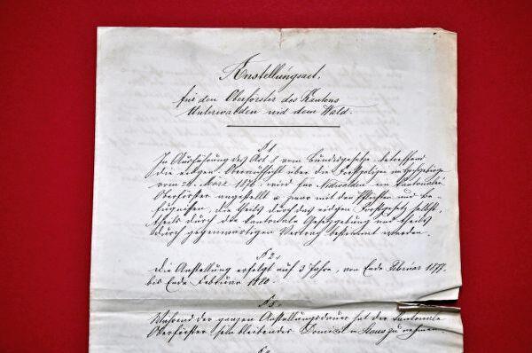 Anstellungsvertrag des Oberförsters von 1877
