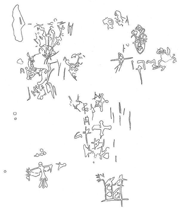 Umzeichnung der Felsritzungen mit Masken und Fabelwesen (Ausschnitt, Fachstelle für Archäologie)