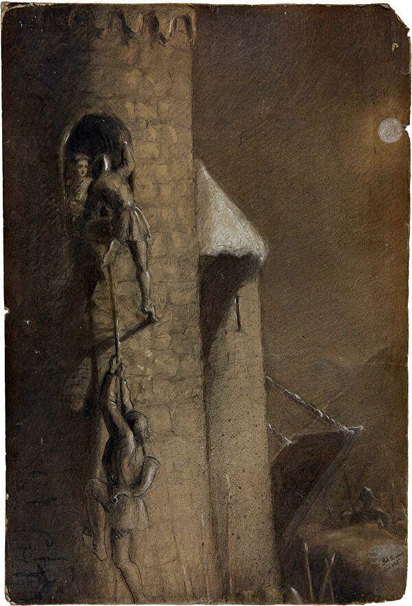 Erstürmung der Rotzburg, wie Kunsthistoriker Robert Durrer sie sich vorstellte (Kantonsbibliothek)