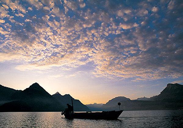 Fischerboot auf See.