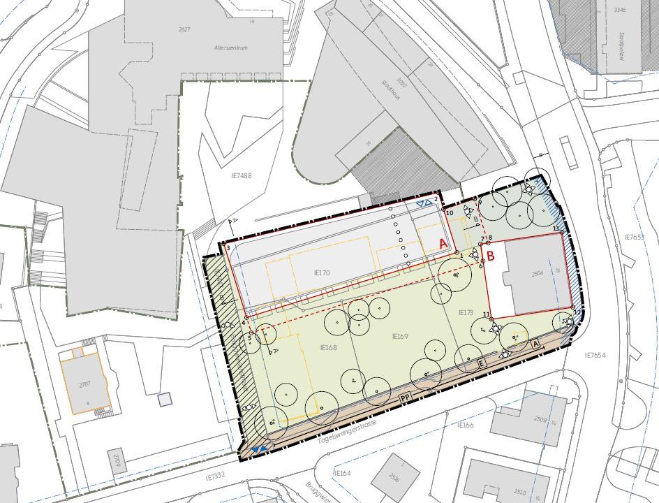 Situationsplan Entwurf Gestaltungsplan «Wohnen am Stadtgarten»