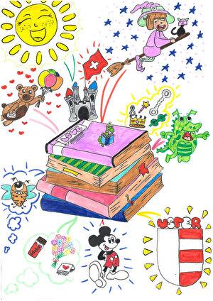 Gezeichnete Bücher, MickeyMouse, Usterwappen, div. Zeichnungen