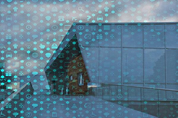 Buchholzsporthalle, überlagert von digitalen Bildern
