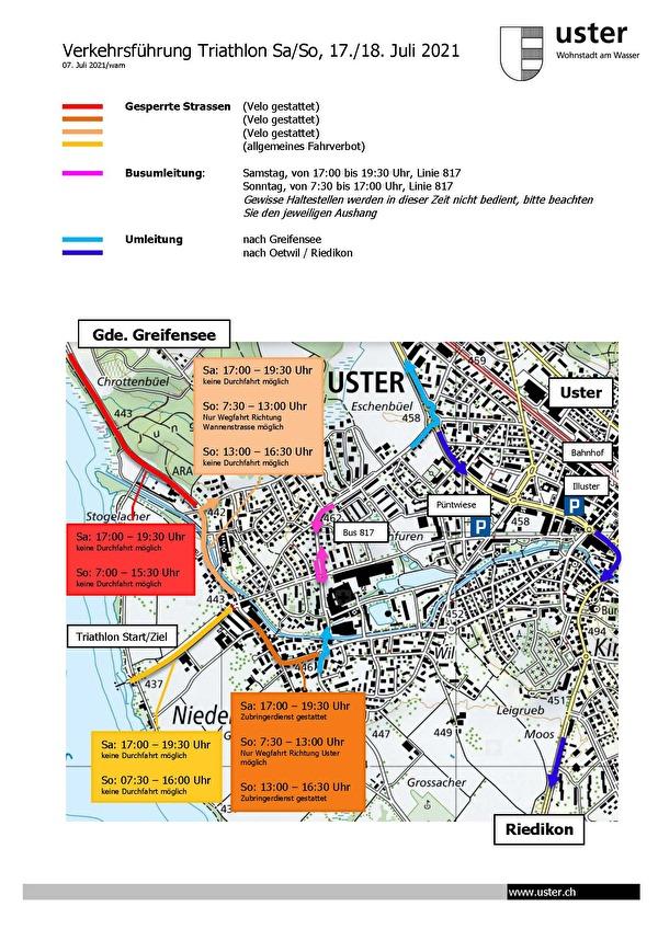 Plan Umleitungen Triathlon