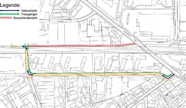 Situationsplan Bahnweg mit Umleitung