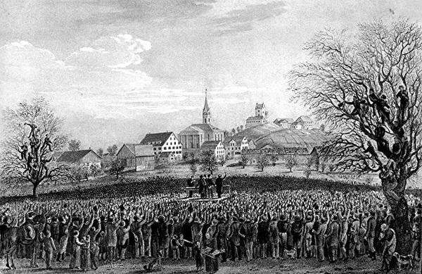 Ustertag-Versammlung 1830, historische Zeichnung