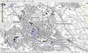 Geografische Karte von Uster mit Brunnenstandorten