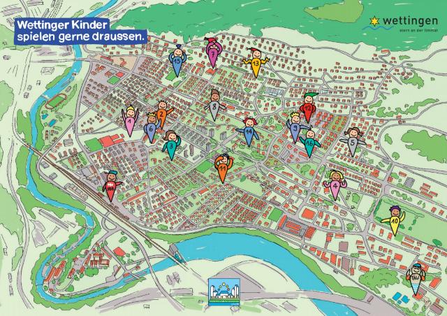 Karte mit eingezeichneten Spielplätzen