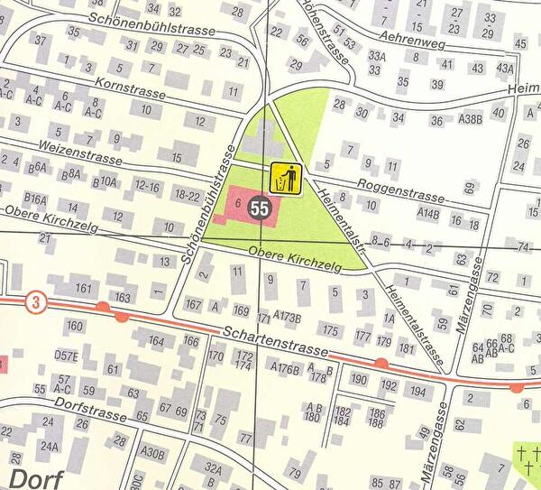 Standortanzeige auf Übersichtsplan