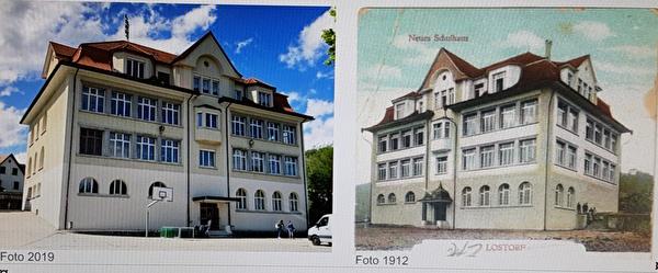 Schulhaus 1912 einst und heute