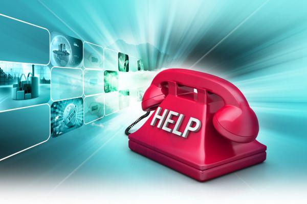 rotes Telefon, auf dem Help steht
