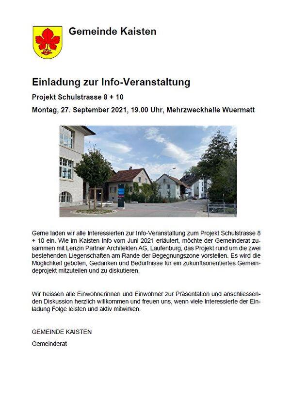 Einladung Infoveranstaltung Schulstrasse 8 + 10