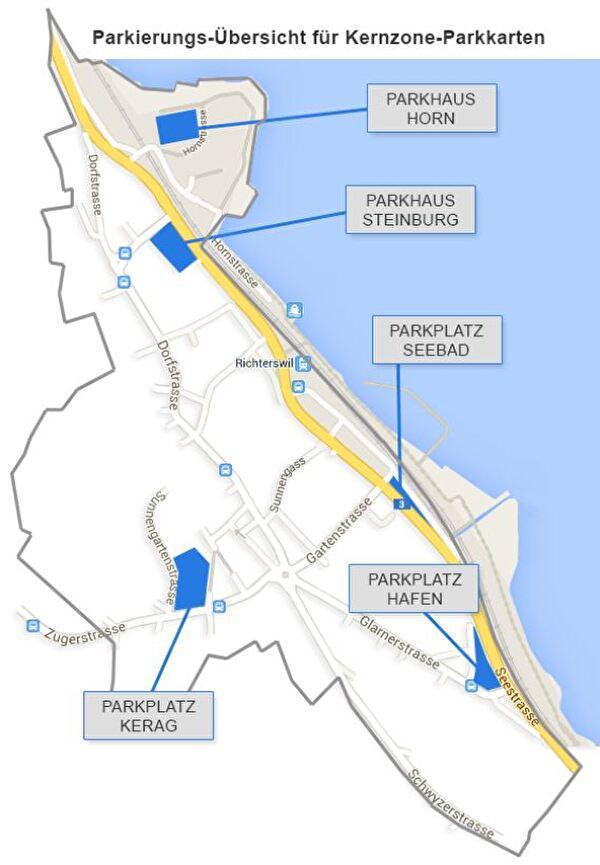 Übersicht Parkplätze für kernzone-Parkkarten