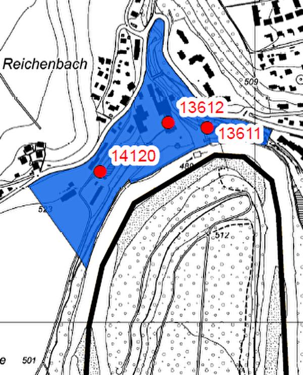 Ausschnitt aus der Karte der Fundstellen in Zollikofen