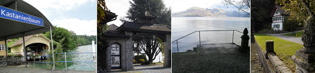 Schiffstation, Villa mit Park, Aussicht von der Parkanlage Krämerstein, Haus am See