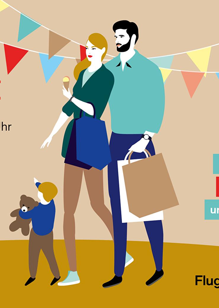 Flyer Circle Quartierfest mit einer illustrierten Familie
