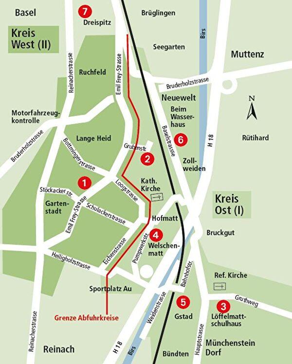 Abfallsammlungen Plan Kreise Ost und West
