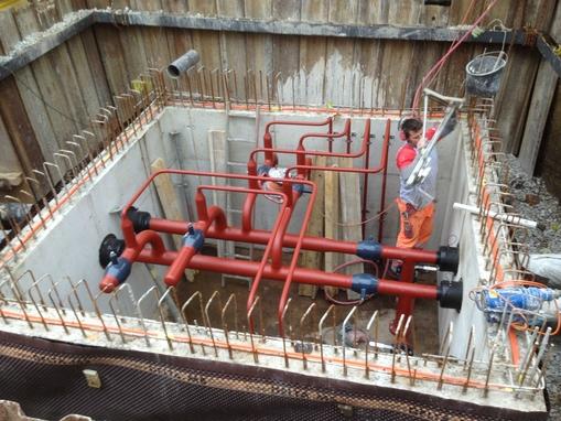 Bau Leitungen für Wärmeverbund
