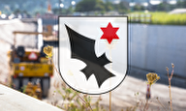 Aescher Wappen mit Baustelle im Hintergrund