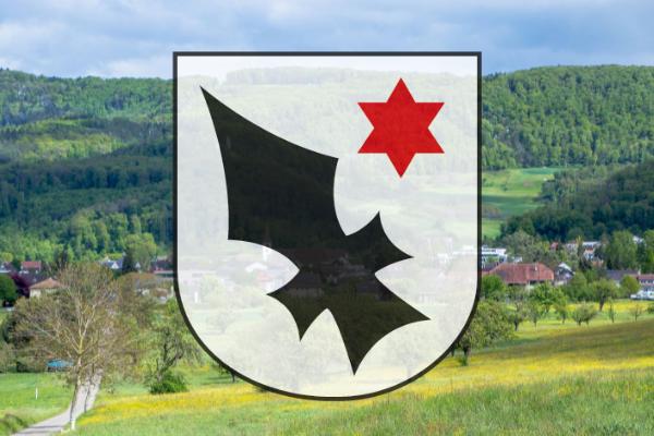 Wiese mit Dorf und Aescher Wappen