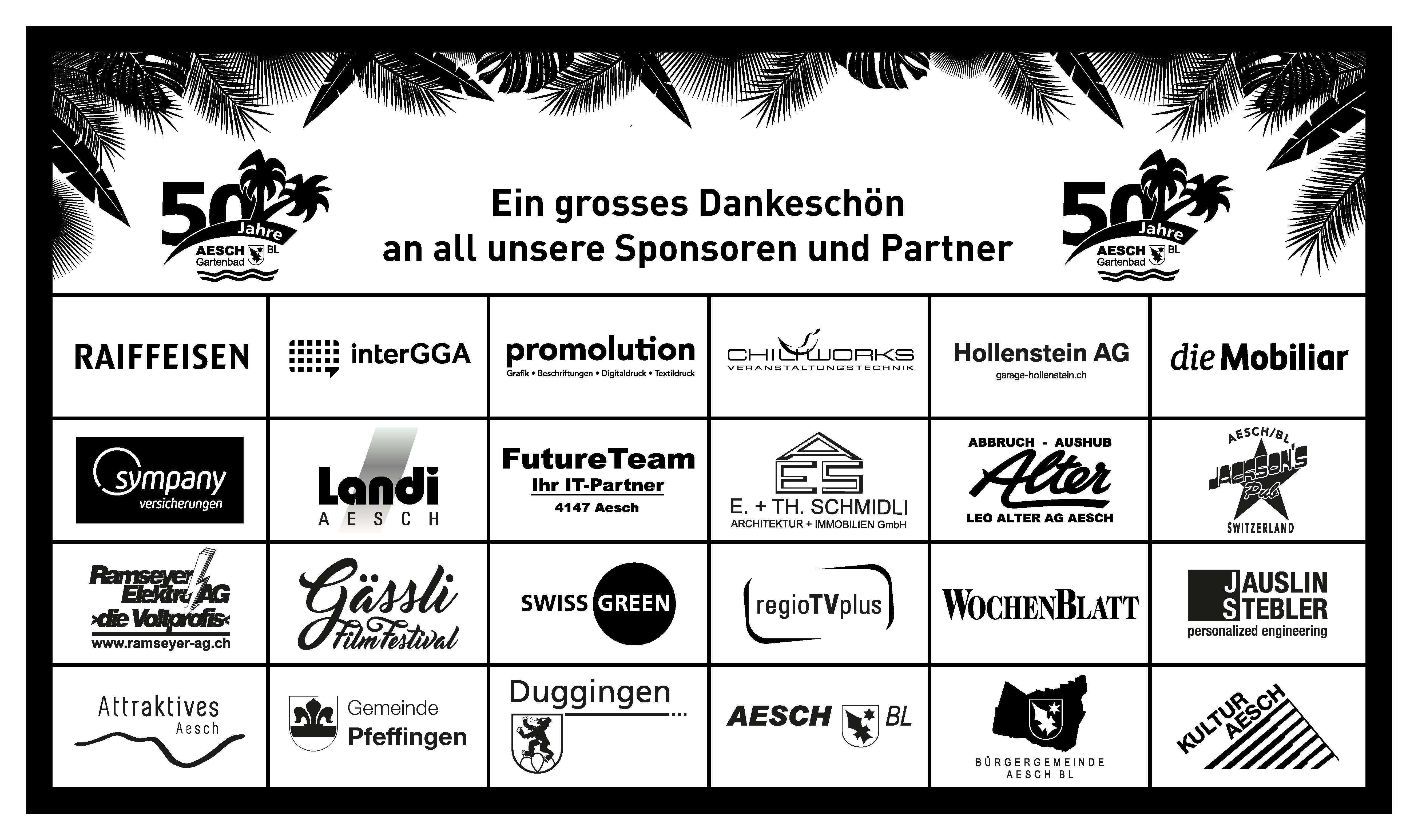 Übersicht der Sponsoren zum Gartenbad-Jubiläum