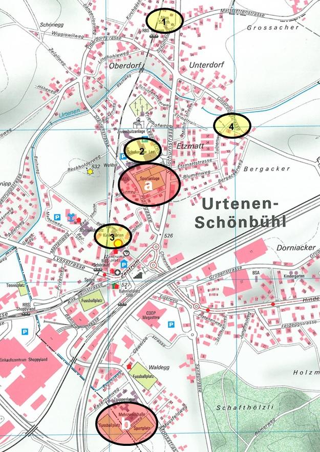 Karte der öffentlichen Sport- und Spielplätze in Urtenen-Schönbühl