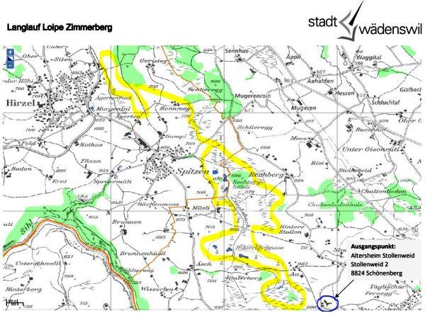 Plan Langlaufloipe Zimmerberg