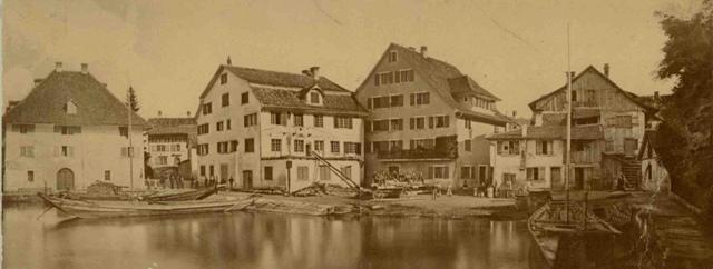 1873: Sust und Gerwe in Horgen (Das Haus Caspar Höhn zum Schiff wurde für den Bau der Eisenbahn abgebrochen).