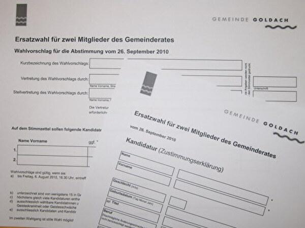Formulare für Wahlvorschläge