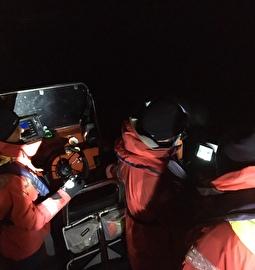 Die Seerettung während der Nachtübung