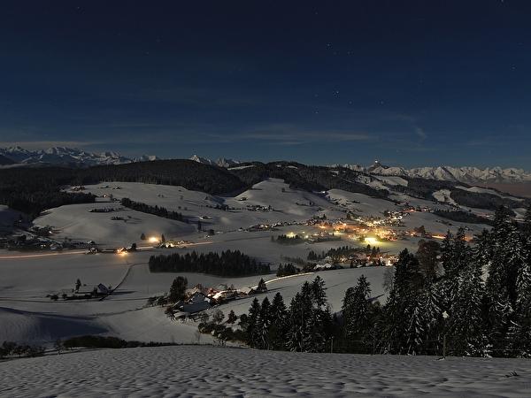 Linden beleuchtet bei Nacht