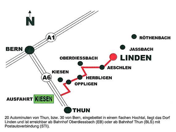 Ausfahrt Kiesen, Richtung Oberdiessbach, rechts abbiegen Richtung Linden