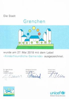 Auszeichnung Kinderfreundliche Gemeinde Grenchen