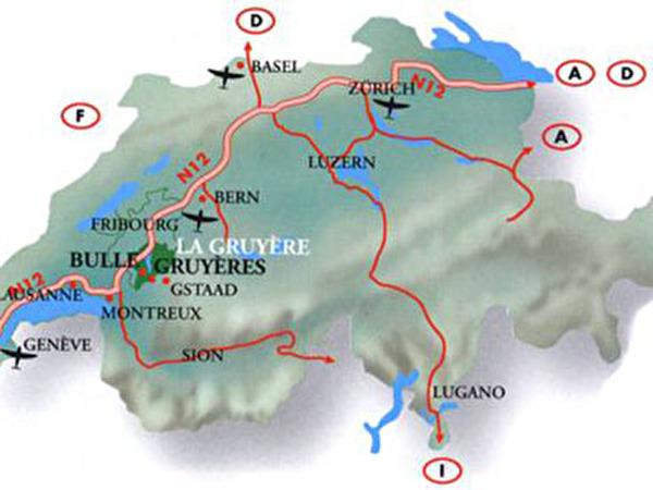 Situer Gruyères en Suisse