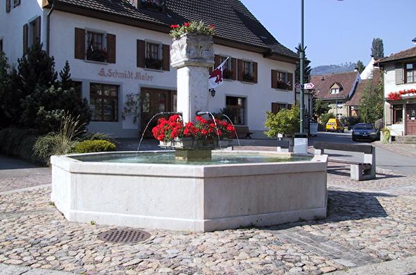 Engelbrunnen Gemeinde Pratteln Brunnen Brunnengotten Brunnen mit Blumen