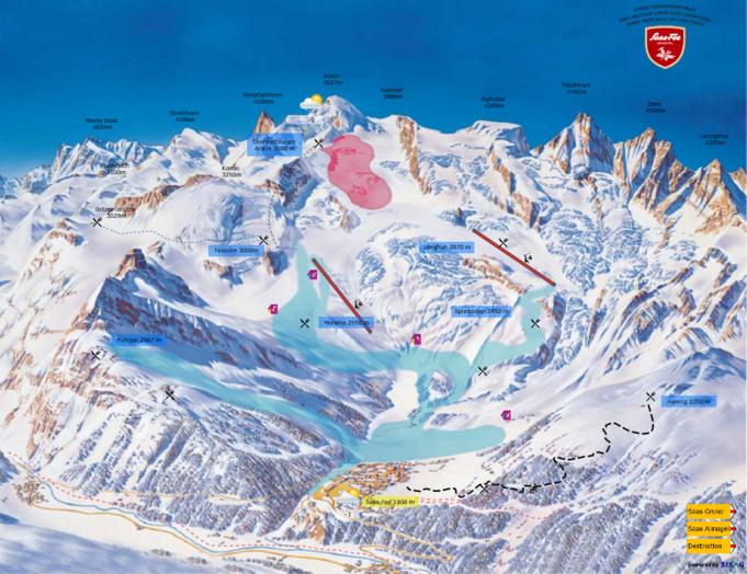 Übersichtsbild Bergrestaurants Saas Fee/ Saastal