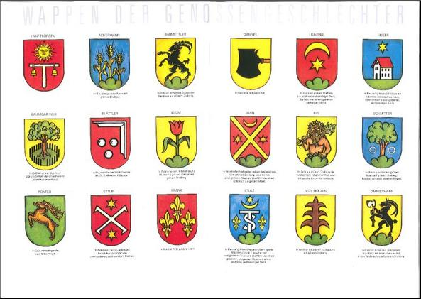 Wappen der Genossengeschlechter von Ennetbürgen