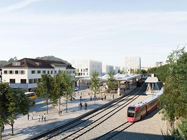 Mögliches Aussehen des künftigen Bahnhofplatzes mit Bushof von Westen her gesehen.