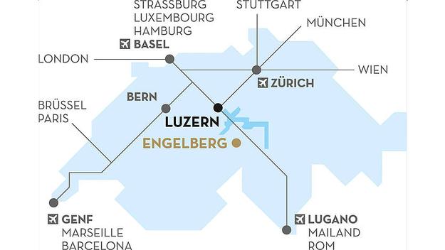 Auf der Karte sind die Anfahrtswege nach Engelberg ersichtlich.