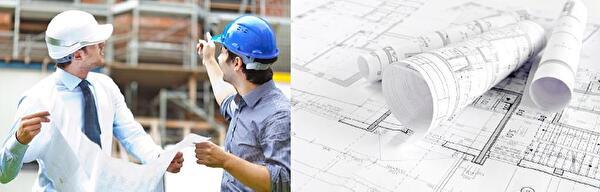 Bauplan, Haus, Bauarbeiter