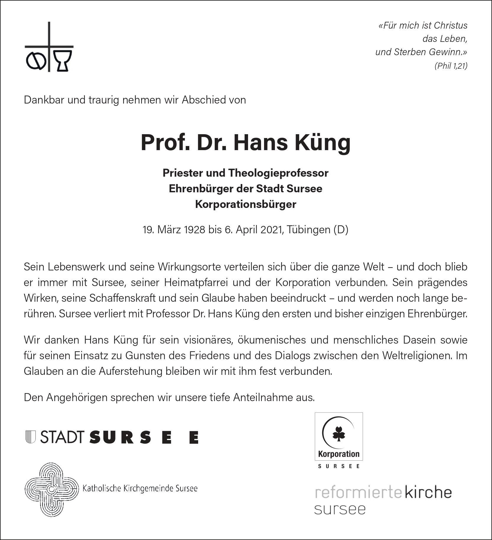 Todesanzeige Prof. Dr. Hans Küng