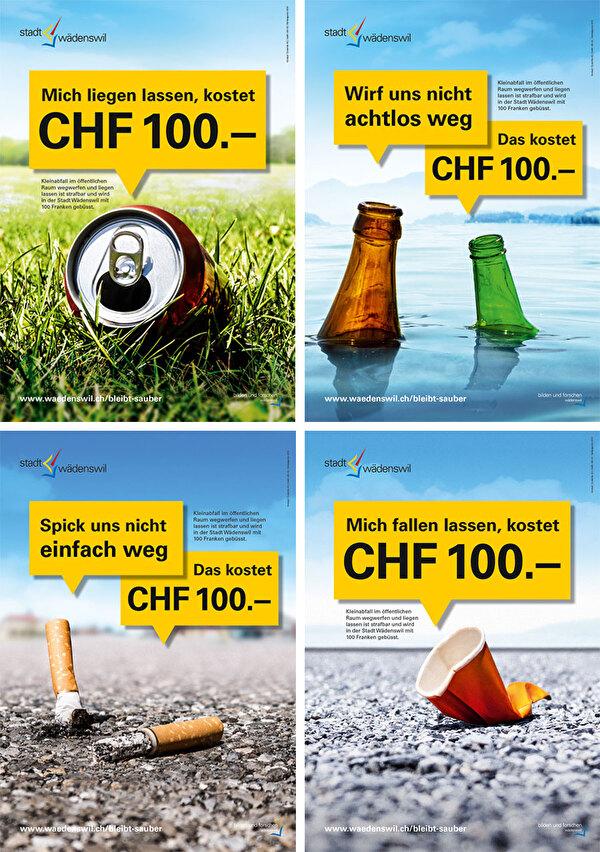 Plakatsujets Littering-Kampagne