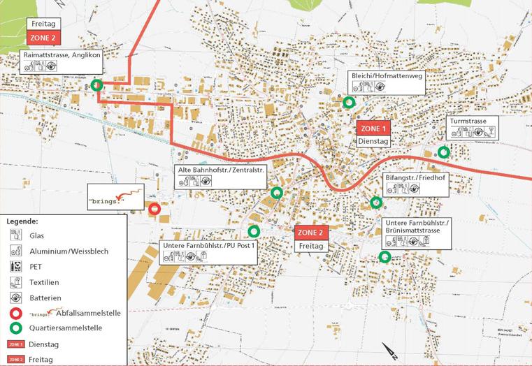 Lageplan der Sammelstellen in der Gemeinde Wohlen