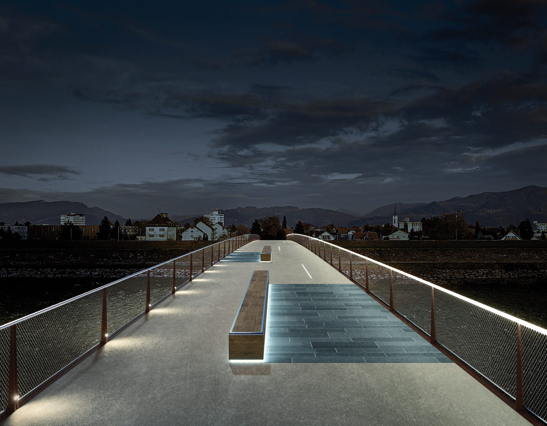 LV Brücke Au-Lustenau, Visualisierung bei Nacht